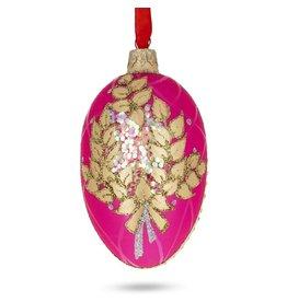 Glass Fabergé Egg Ornament (Pink Laurel)