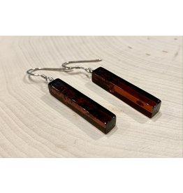 Cherry Amber Pillar Earrings