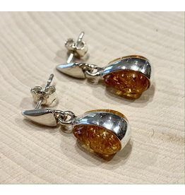 Golden Amber Banded Droplet Earrings