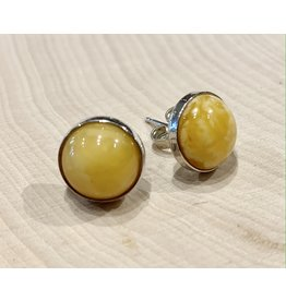 """""""Butterscotch"""" Yellow Amber Studs (Round)"""