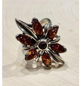 """Slavic Blossom"" Amber Ring"