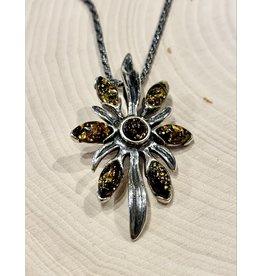 "Green Amber ""Slavic Blossom"" Necklace"
