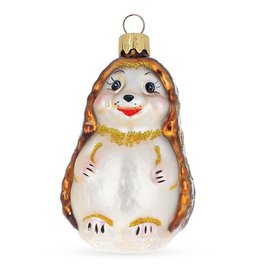 """""""Smiling Hedgehog"""" Glass Ornament"""