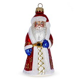 """""""Father Frost"""" Glass Santa Ornament"""