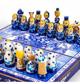 Wooden Gzhel Folk Art Chess Set