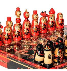Wooden Khokhloma Folk Art Chess Set