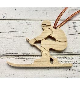 Carved Birch Wood Skier Ornament
