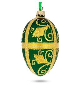 Glass Fabergé Egg Ornament (Golden Leaves)