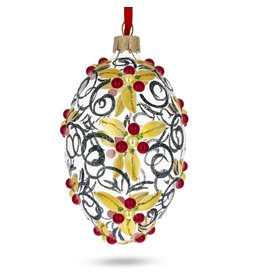Glass Fabergé Egg Ornament (Golden Holly)