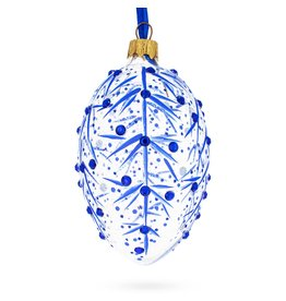 Glass Fabergé Egg Ornament (Blue Frost)