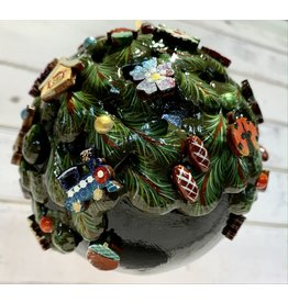 Large Hand-Carved Wooden Ball Ornament (Black)