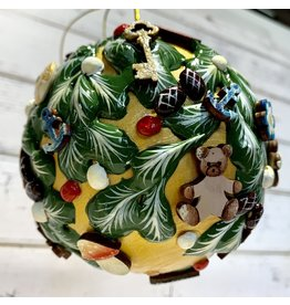 Large Hand-Carved Wooden Ball Ornament (Forest)