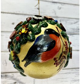 Large Hand-Carved Wooden Ball Ornament with Bullfinch