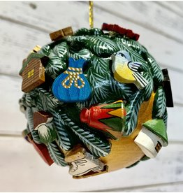 Medium Hand-Carved Wooden Ball Ornament (Gold)