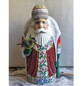 Carved Wood Santa with Bird and Folk Art Trim
