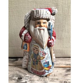 Carved Wood Santa with Girl and Bird Winter Scene
