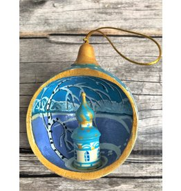 Hand Painted Open Ball Church Ornament in Light Blue