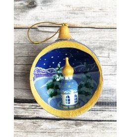 Hand Painted Open Ball Church Ornament in Dark Blue
