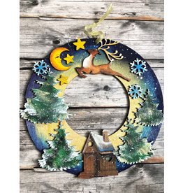 Hand Carved Wooden Holiday Wreath
