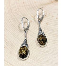 Art Nouveau Amber Earrings (Green)