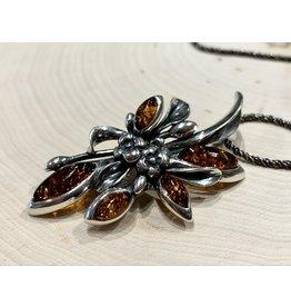 """Russian Flowers"" Amber Pendant"