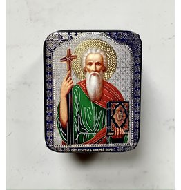Small Icon Lacquer Box with Andrew the Apostle