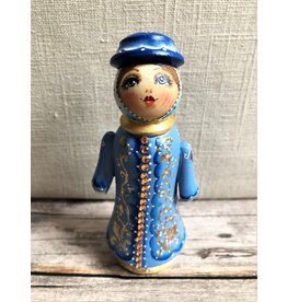 Carved Wood Snow Maiden with Gold Beading