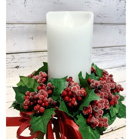 Candle Ring with Frosted Holly Berries