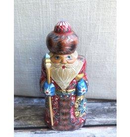 Carved Wood Folk Art Santa with Gold Belt and Gold Sack