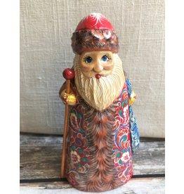 Carved Wood Folk Art Santa with Blue Flower Sack