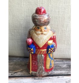 Carved Wood Santa with Red Coat and Gold Net Scarf