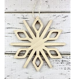 Carved Wood Snowflake Ornament