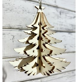 Carved Wood Christmas Tree Ornament
