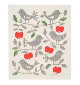 Apple and Bird Swedish Dishcloth