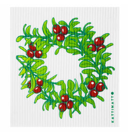 Lingonberry Wreath Swedish Dishcloth