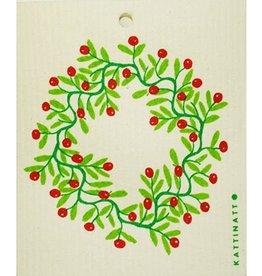 Holly Wreath Swedish Dishcloth