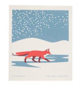 Fox in the Snow Swedish Dishcloth