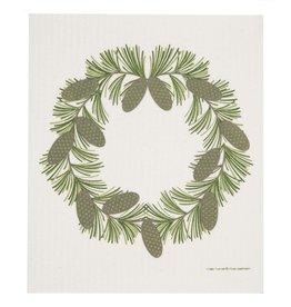 Pine Cone Wreath Swedish Dishcloth