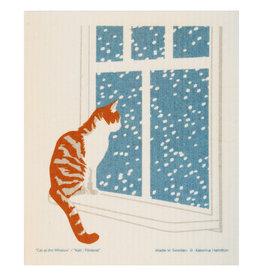Cat at Window Swedish Dishcloth