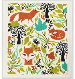 Foxes in Forest Swedish Dishcloth
