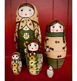 Traditional Matryoshka with Light Brown Scarf