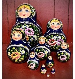 Blue Floral Matryoshka (10-Piece)