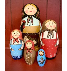 Traditional Matryoshka with Black Rooster