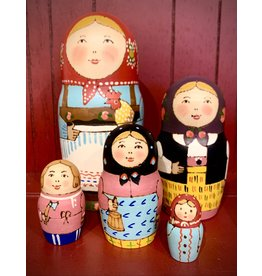 Traditional Matryoshka with Golden Rooster (Five-Piece)