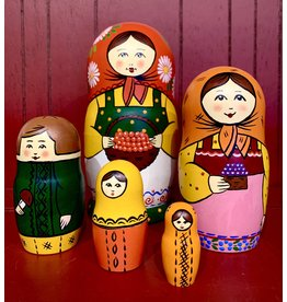 "Traditional Matryoshka ""Foraging Family"" (Red)"