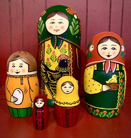 Traditional Matryoshka with Black Hen (Green)