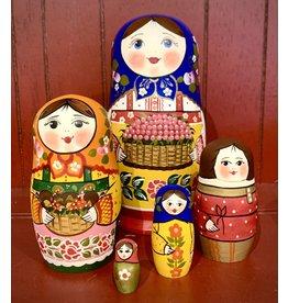 "Traditional Matryoshka ""Foraging Family"" (Blue)"