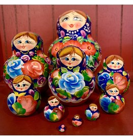 Floral Matryoshka with Bright Blue Flowers (10 Piece)