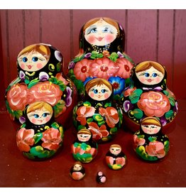 Floral Matryoshka with Bright Red Flowers (10 Piece)