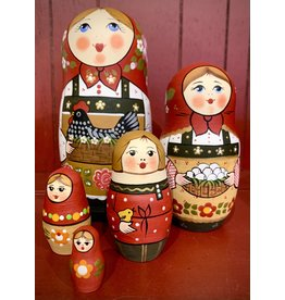 Traditional Matryoshka with Black Hen (Red)